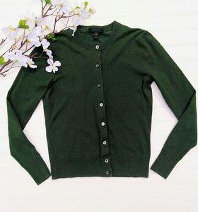 J. Crew forest green classic cardigan XS